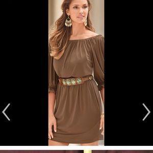Cognac blouson dress